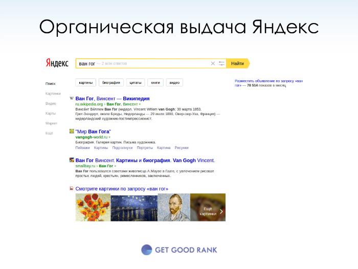 Органическая выдача Яндекс