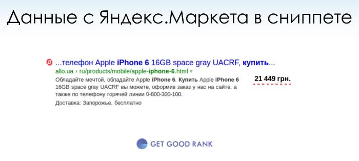 Данные Яндекс.Маркет в сниппете