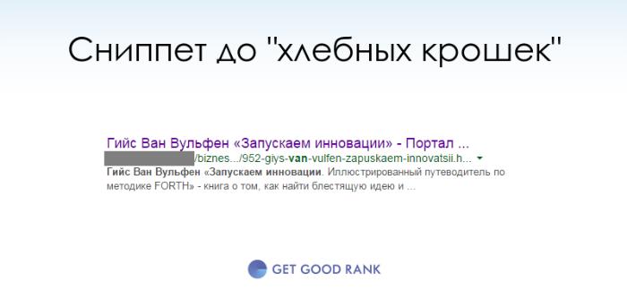 Обычный сниппет в Google