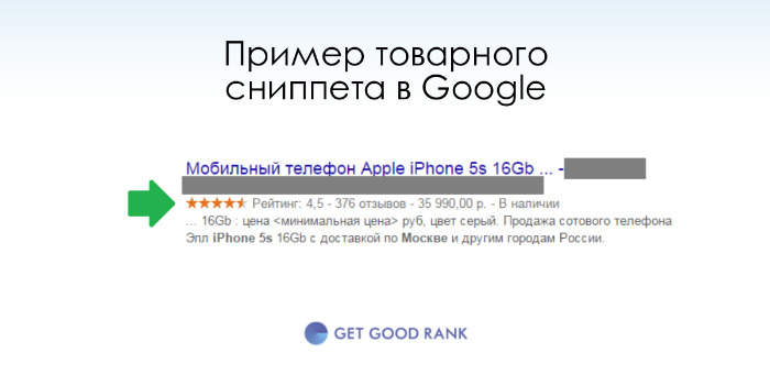Товарный сниппет в Google