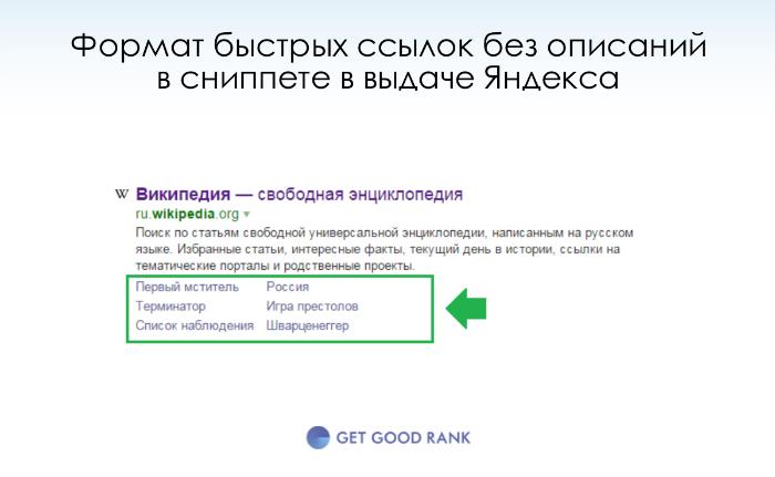 Быстрые ссылки без описаний в сниппете Яндекса