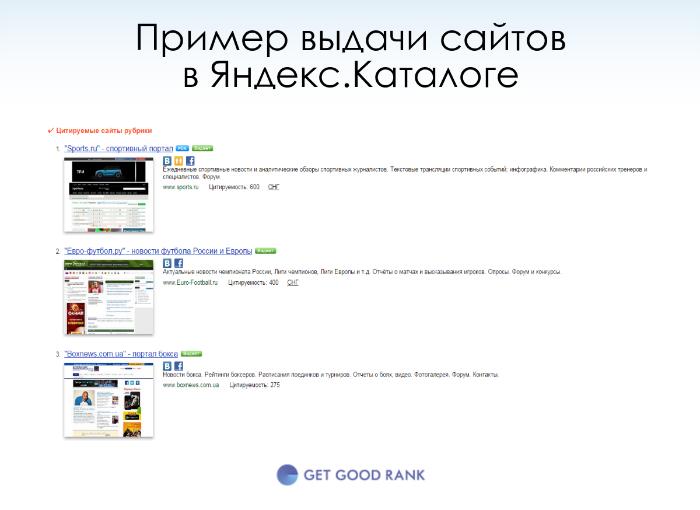 Пример выдачи яндекс каталога