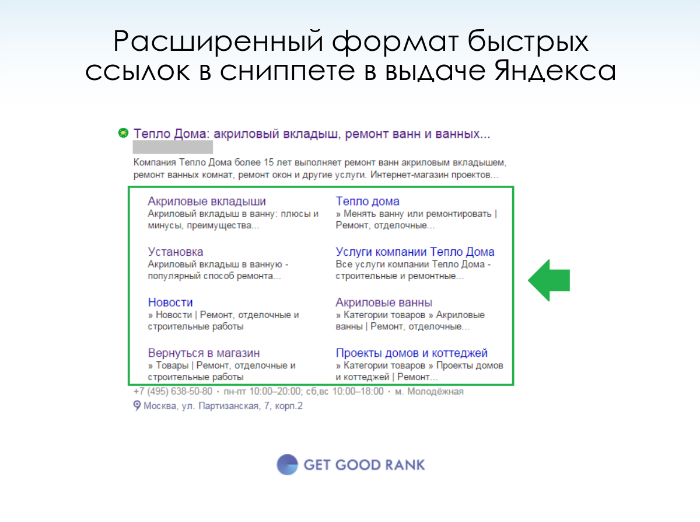 Расширенный формат быстых ссылок в сниппете Яндексе