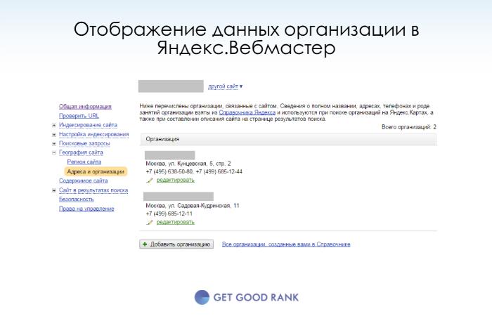 Отображение данных организации в Яндекс.Вебмастер