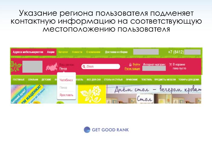 продвижение сайта в нескольких регионах, подмена контактной информации