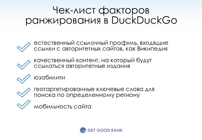 Чек лист DuckDuckGo