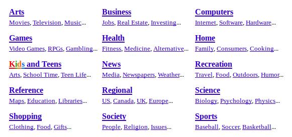 каталог DMOZ показывает ссылки, выделенные синим и подчеркиванием