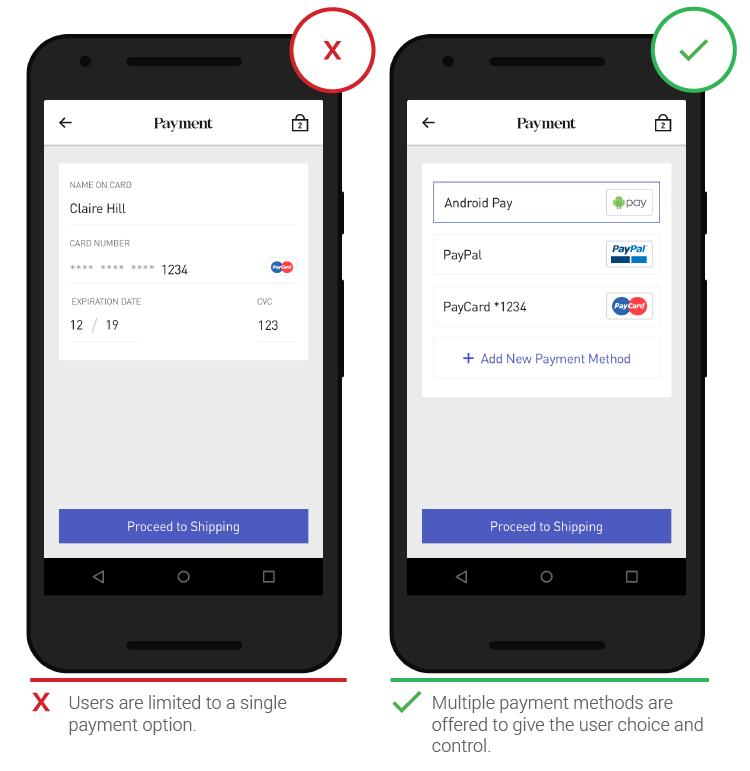 Мобильный UX способы оплаты