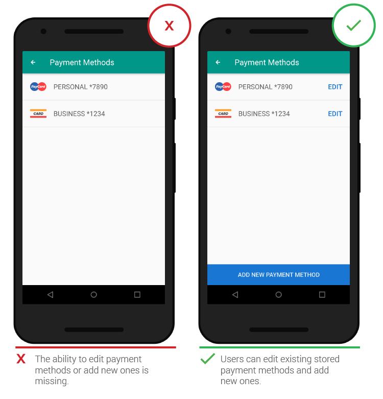 Мобильный UX редактирование платежной информации