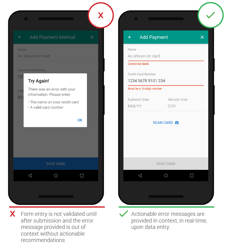 Мобильный UX сообщение об ошибке