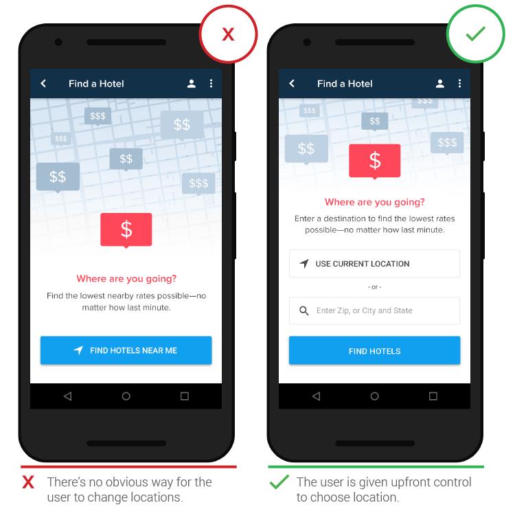 Мобтльный UX определение местоположения
