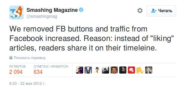 Социальные кнопки снижают трафик