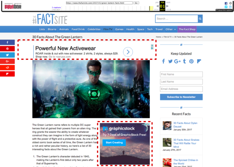 скриншот просевшего сайта