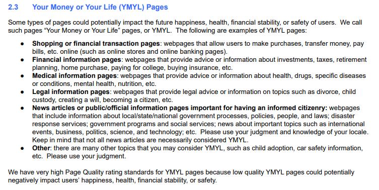 YMYL низкое качество страниц