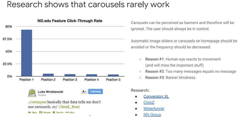 оптимизация коммерческого сайта. Google не рекомендует использоватть карусели изображений на главной странице